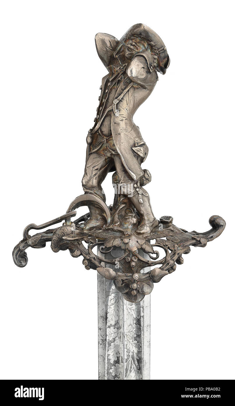 Hanger and scabbard, with hilt by Jules Wipse, marked Froment-Meurice - Stock Image