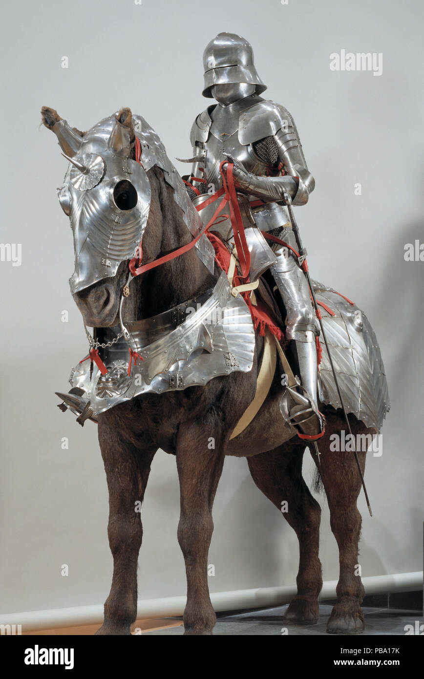 Composite armour for man and horse in the Gothic style. German, late 15th century. The horse armour was made for Duke Waldemar VI of Anhalt-Zerbst (1450-1508) Stock Photo