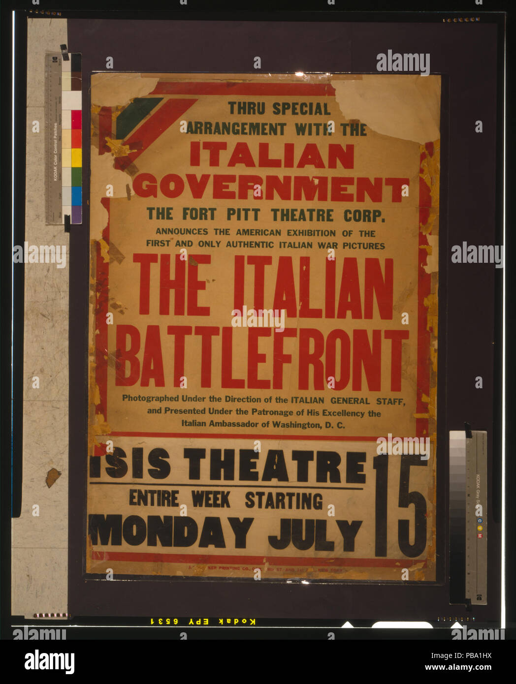 1745 Thru special arrangement with the Italian government (...) the Italian battlefront LCCN00652397 - Stock Image