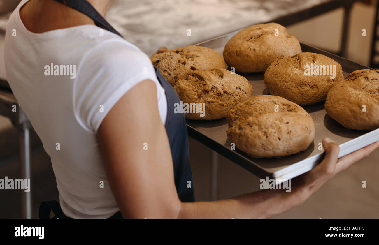 Close up of female baker holding a freshly baked bread on a baking tray. Woman carrying a tray of with baked bread in a bakery. Stock Photo