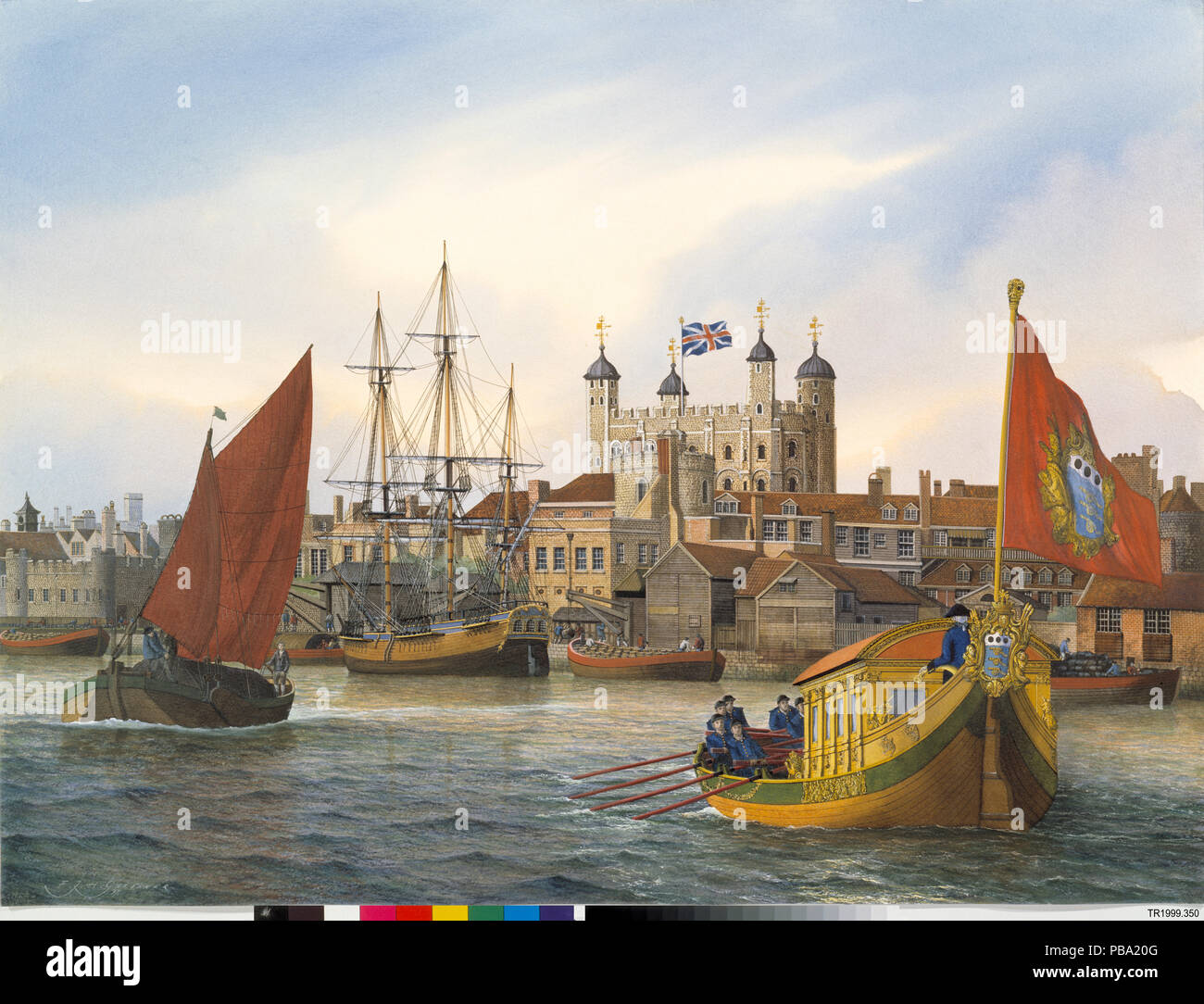 Watercolour Painting Showing The Master Generals Barge With Tower Of London In Background