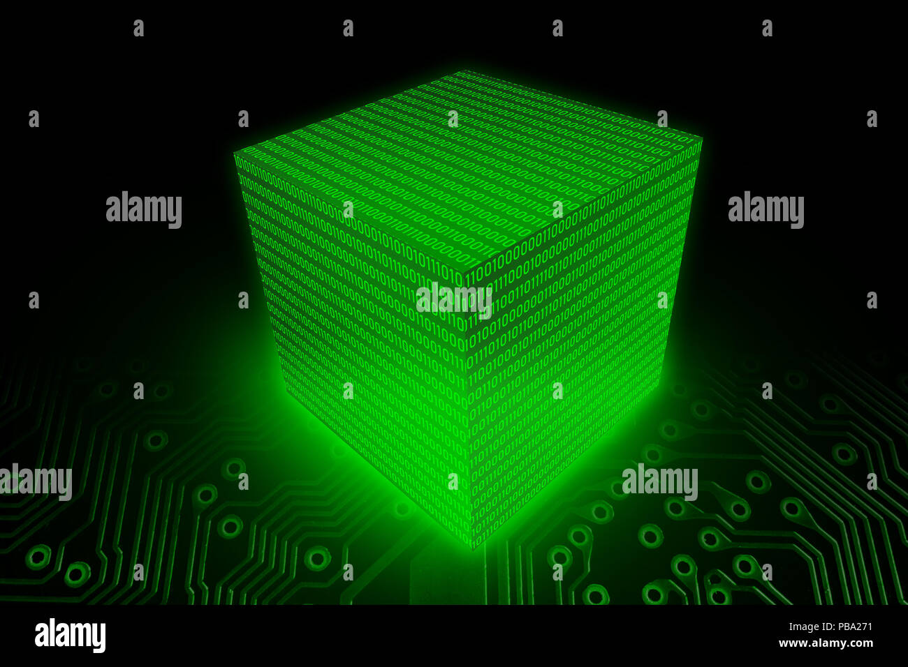 Data Block Cube of Binary digit (Bit) code, Digital computer data storage 3D illustration concept. - Stock Image