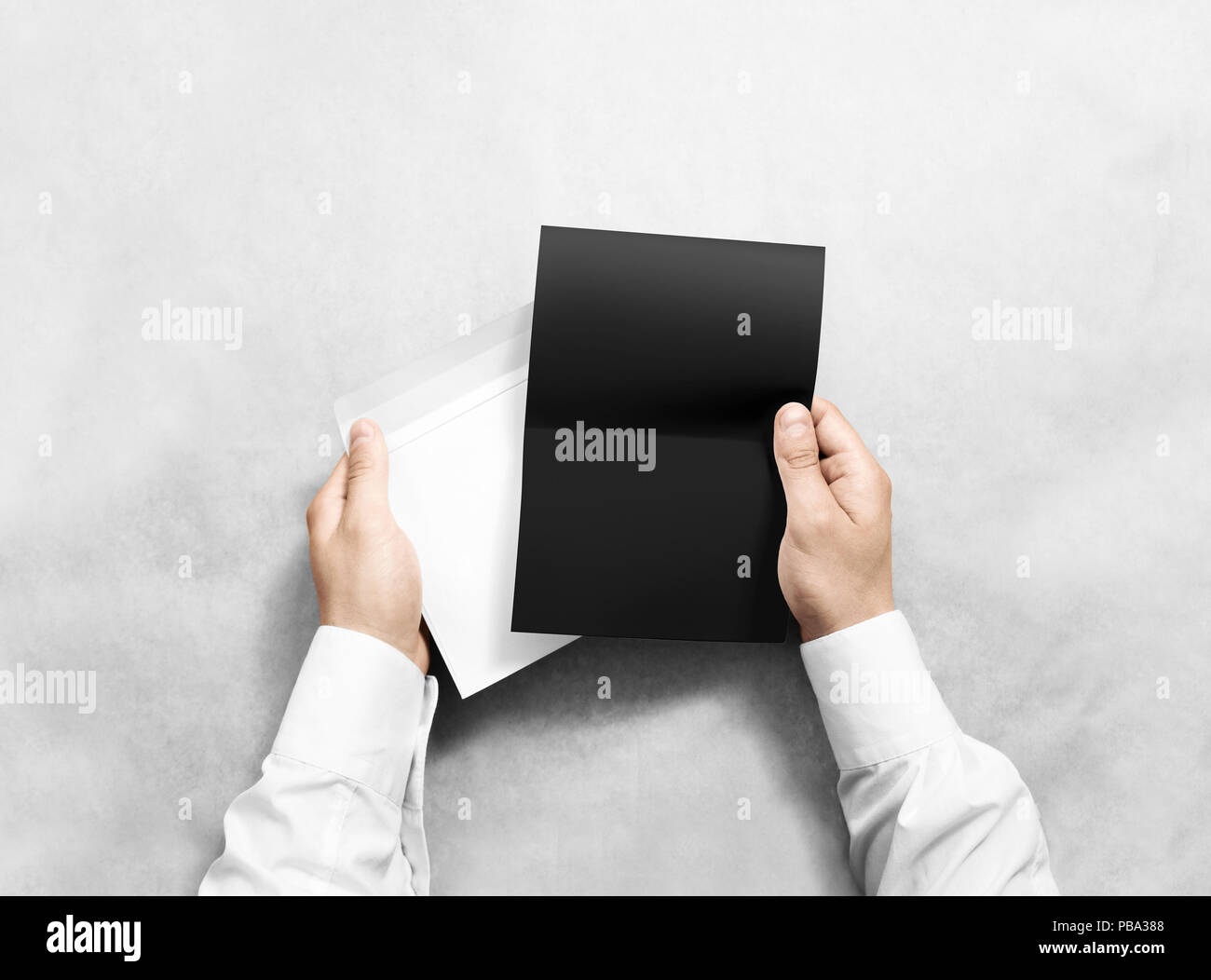 Hand Holding Blank Envelope And Black Letter Mockup Isolated Arm