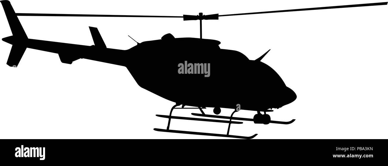 Black silhouette of helicopter on white background - Stock Vector