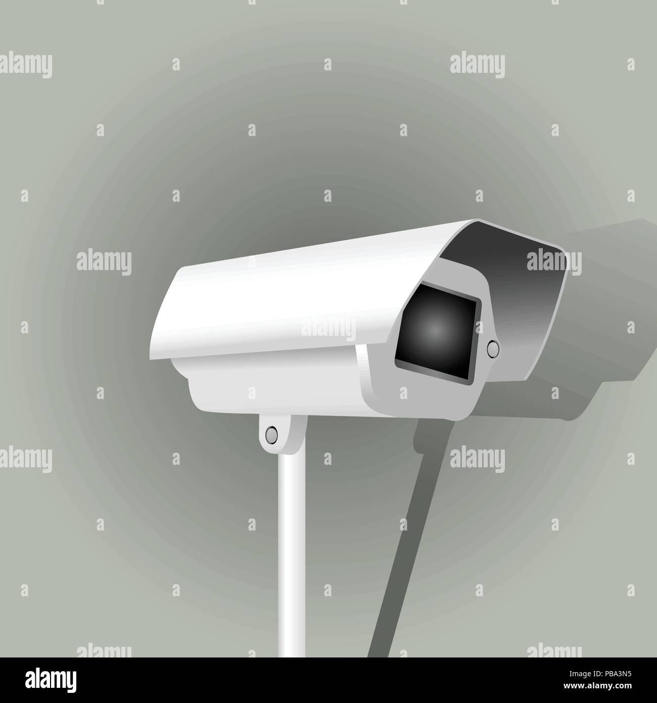Surveillance camera on grey background - security camera - Stock Image