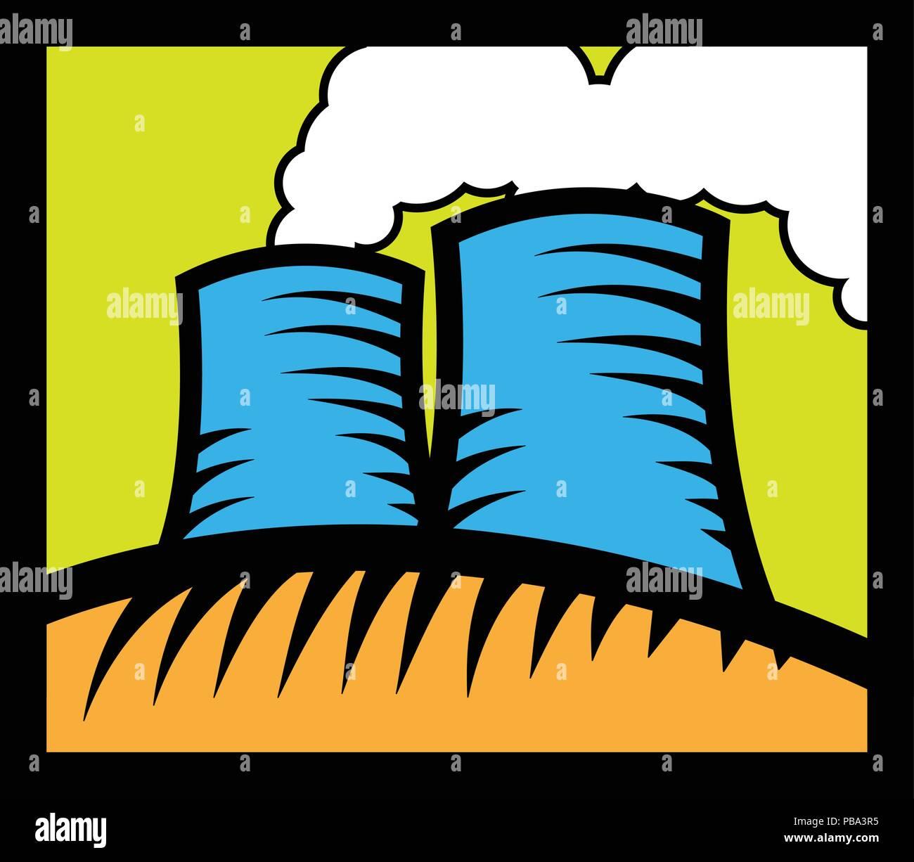 Nuclear reactor - cartoon factory with smoke - Stock Vector