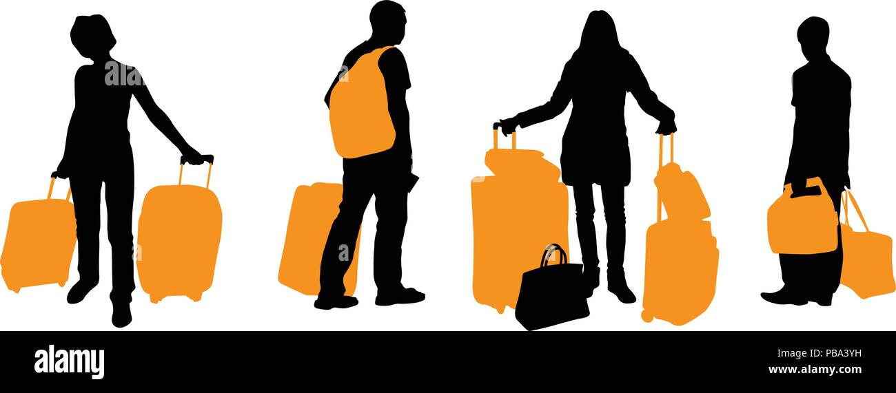 Silhouette of traveling people with suitcases and bags - traveller - Stock Image