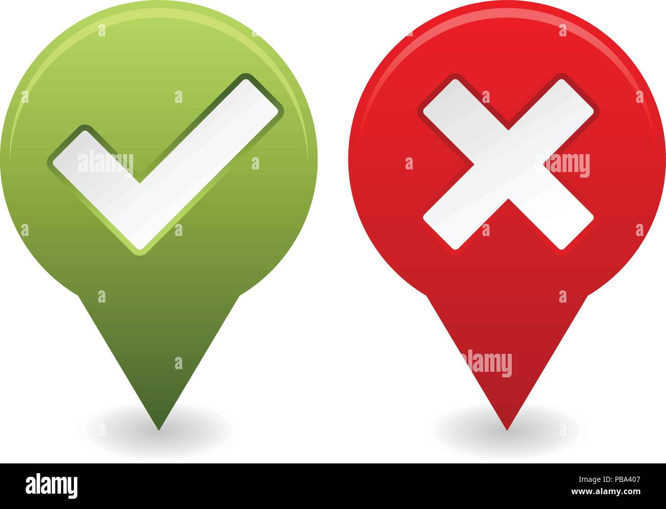 Tick And Cross Icons Yes And No Sign Stock Vector Art