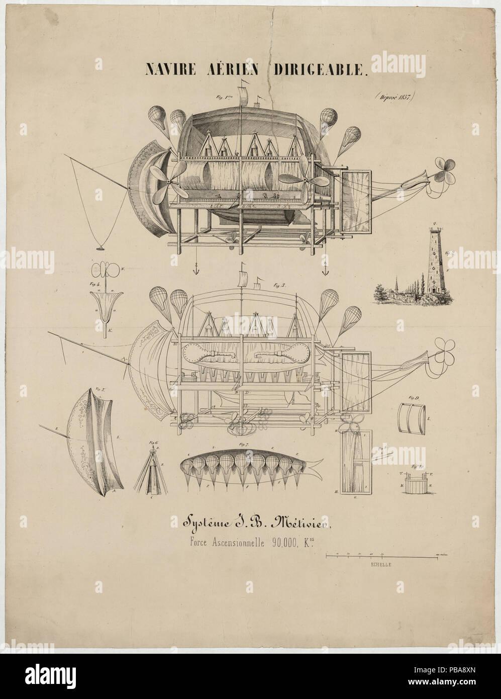 1084 Navire aérien dirigeable. Systême J.B. Métivier, force ascensionnelle 90,000 kos LCCN2002736610 - Stock Image