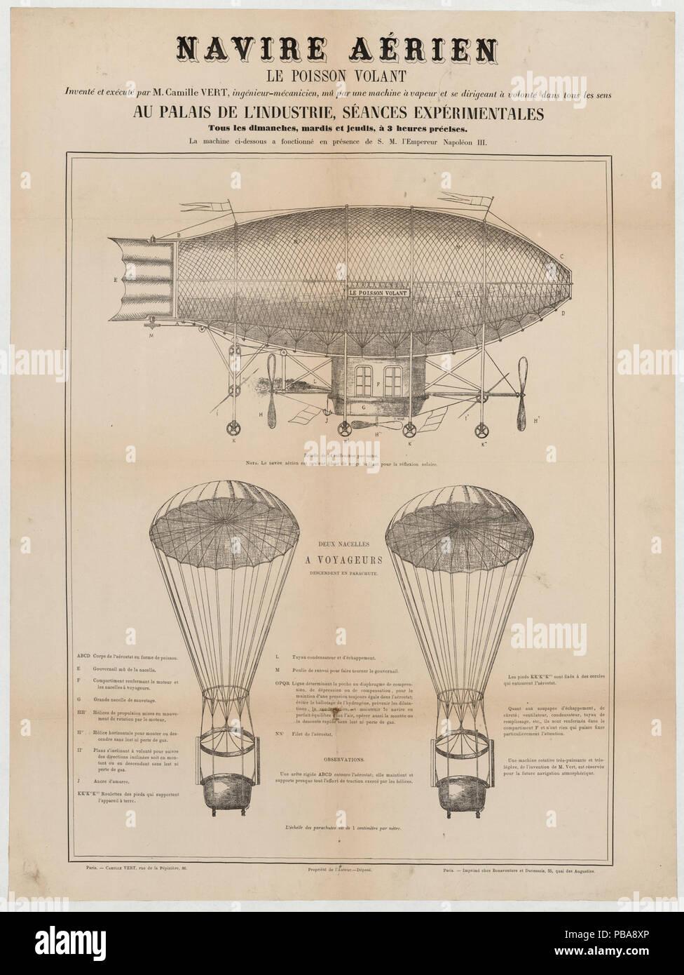 1084 Navire aérien, le poisson volant, inventé et exécuté par M. Camille Vert, ingénieur-mécanicien LCCN2002736612 - Stock Image