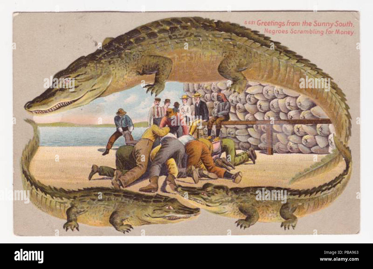 . English: Langsdorf 'alligator border' postcard S-651, Greetings from the Sunny South - 'Negroes scrambling for money' . circa 1910 1086 Negroes scrambling for money - Stock Image