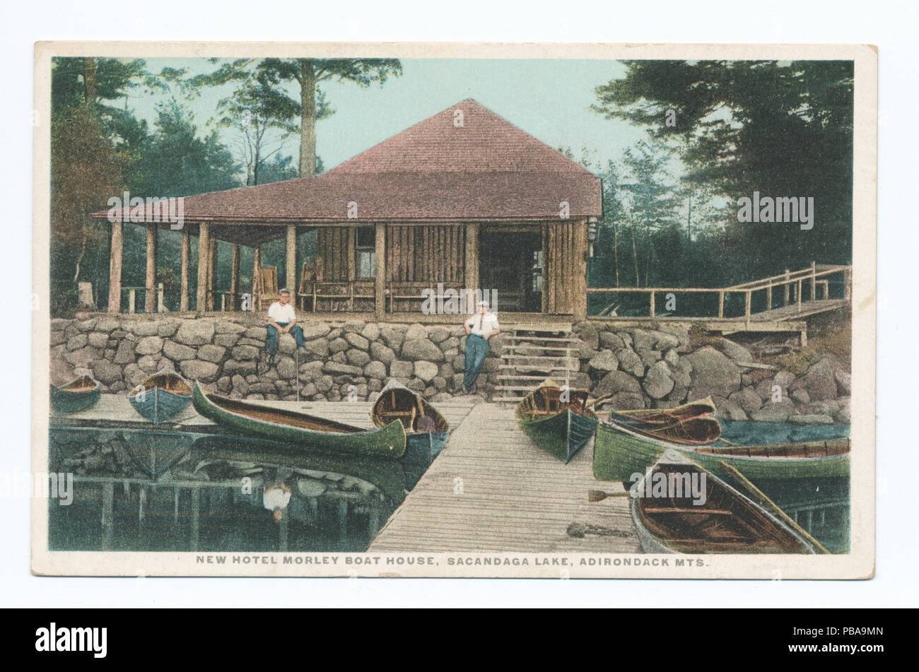 1094 New Hotel Morley Boat House, Sacandaga Lake, Adirondack Mts (NYPL b12647398-79467) - Stock Image