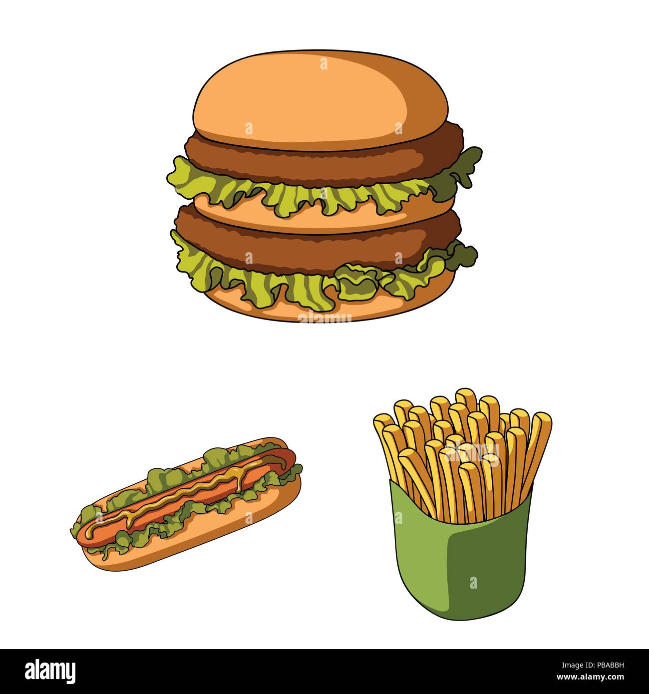 Fast Food Cartoon Icons In Set Collection For Designod From Semi