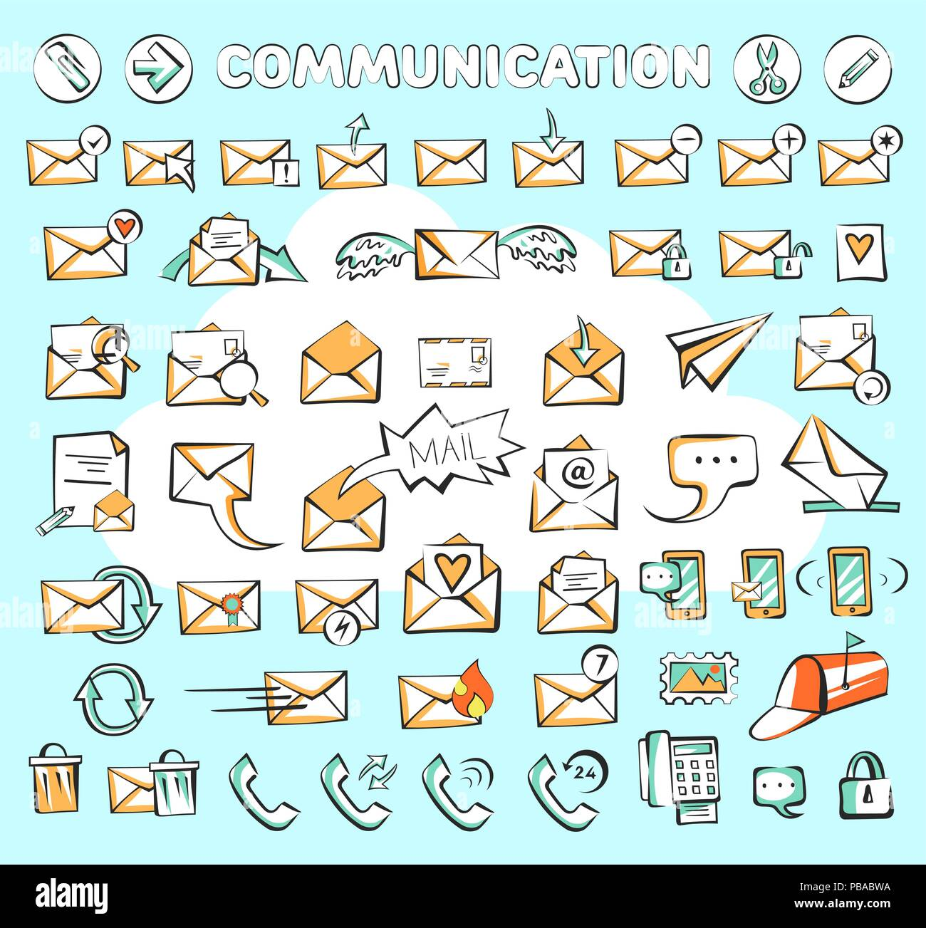 Set of communication web icons. Vector mail and phone signs could be used as buttons in apps or sites - Stock Image