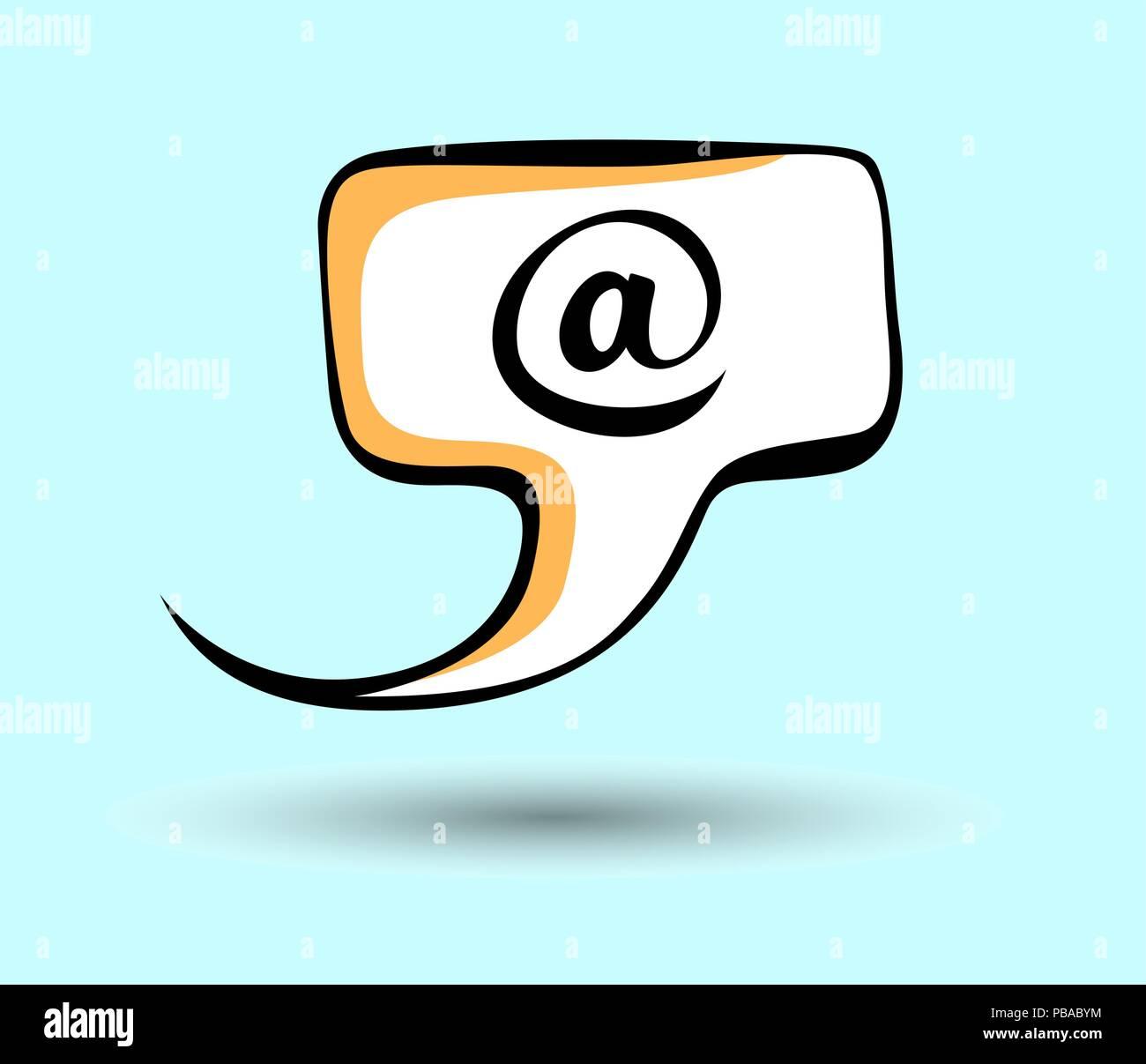 E-mail pop art speech vector icon. - Stock Image