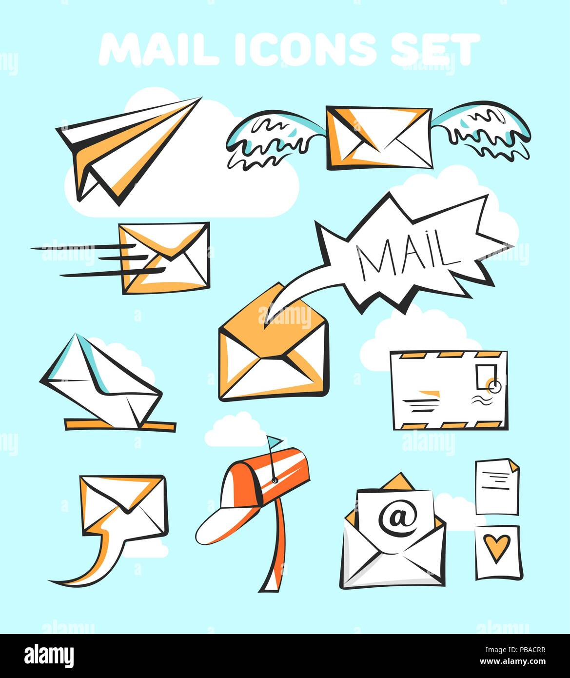 Mail Icons Set. Vector Pop Art Signs. - Stock Image