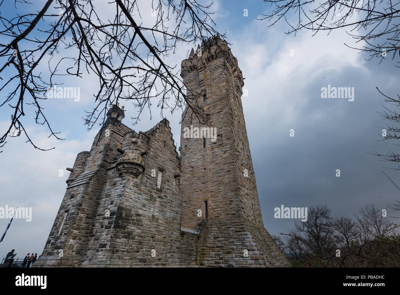 Cloudy day at National Wallace Monument on Abbey Craig, Stirling in Scotland, United Kingdom Stock Photo