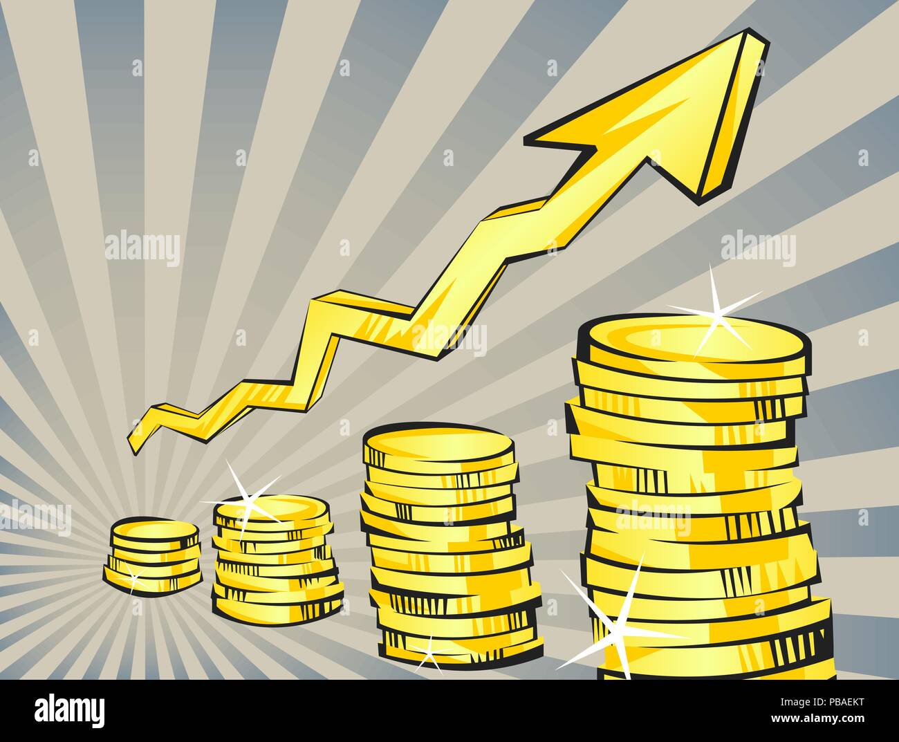 Gold coins with increasing arrow in retro cartoon style. Perspective view. Golden money vector illustration. Business success, deposit, investment, sa - Stock Vector