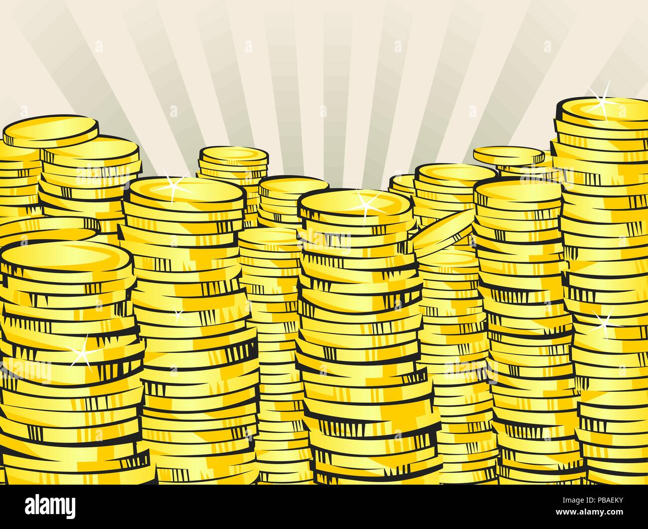 Golden money stacks. Gold coins. Retro vector illustration of the shining wealth. Lottery winning or bussiness success concept. Pop art treasure image - Stock Vector