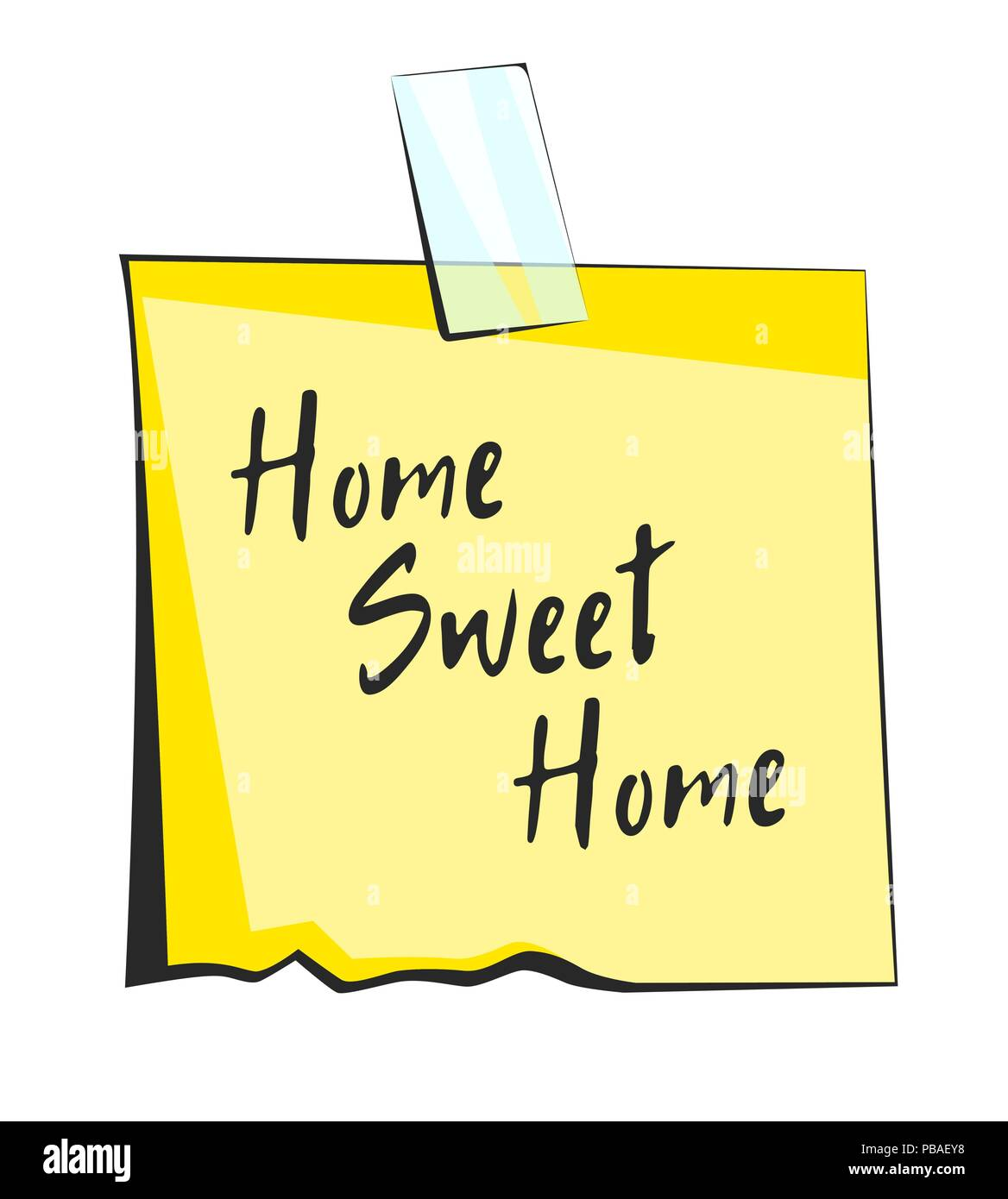 Home sweet home paper sticky note. Retro reminder sticker - Stock Vector