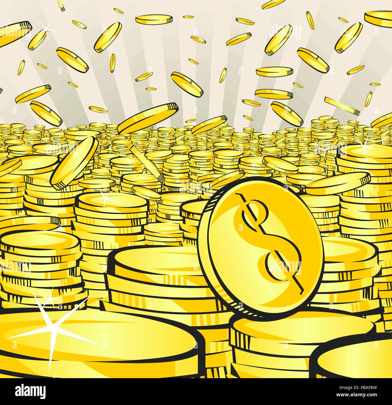 Golden money rain. Falling gold and stacks of coins. Retro vector illustration of the shining wealth. Lottery winning or bussiness success concept. Po - Stock Vector