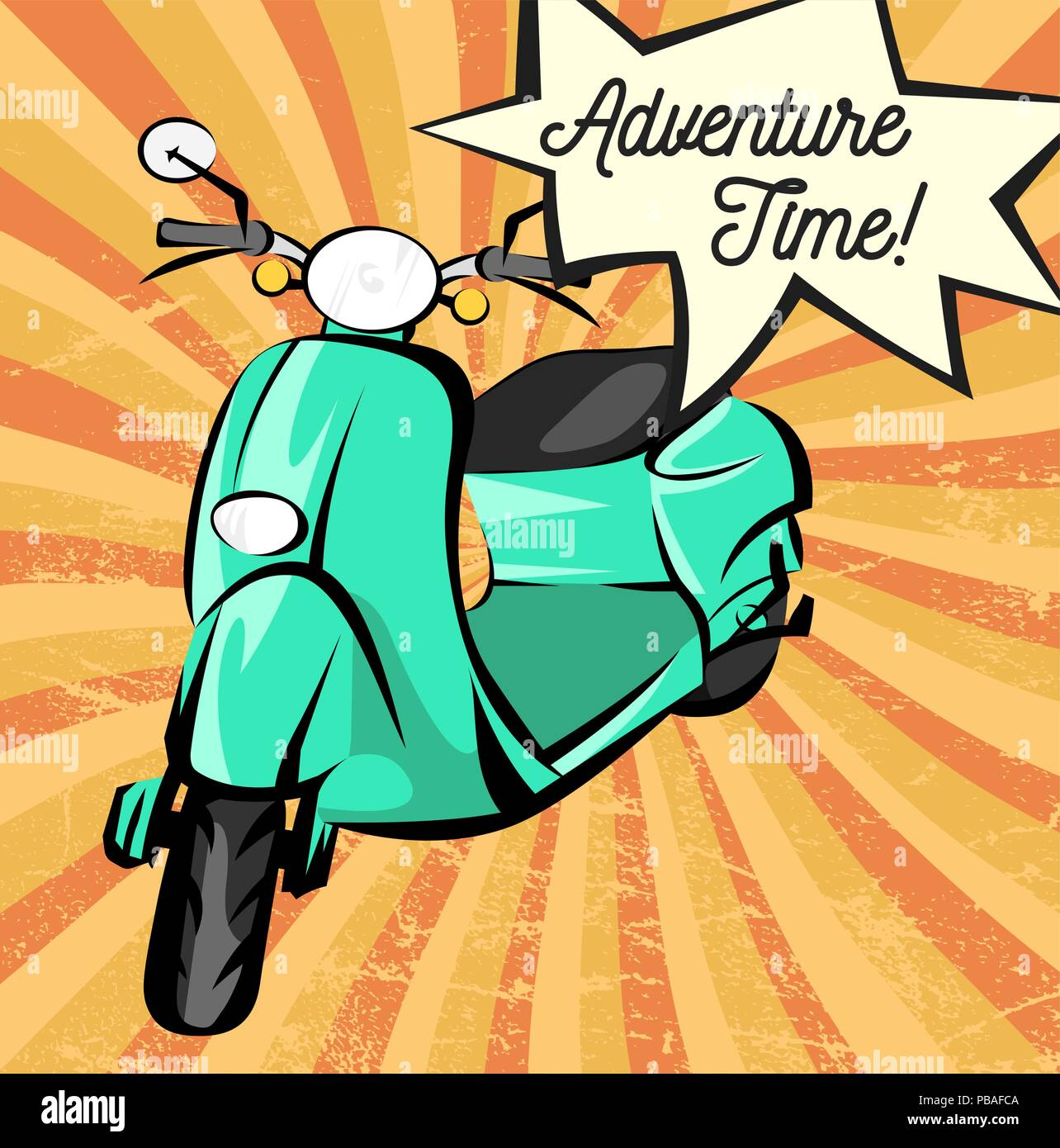 Adventure time retro banner. Vector old scooter. Vintage paper with rays and scratches. - Stock Image