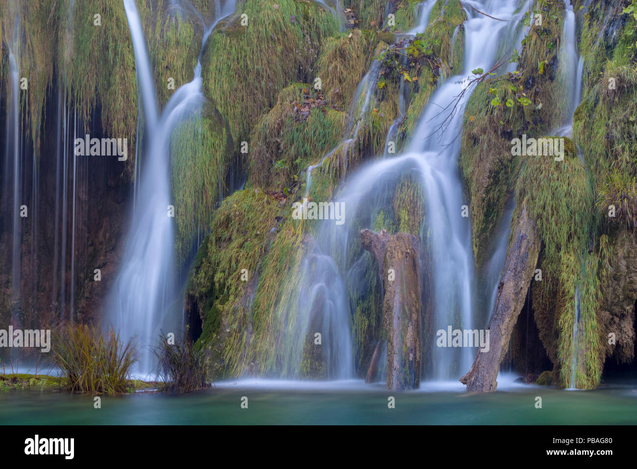 Water cascading over naturally formed tufa dam. Tufa is a kind of limestone, formed from the precipitation of carbonate minerals which builds up around mosses and water plants to form a solid limestone structure over time. Plitvice Lakes National Park, Croatia. November. - Stock Image