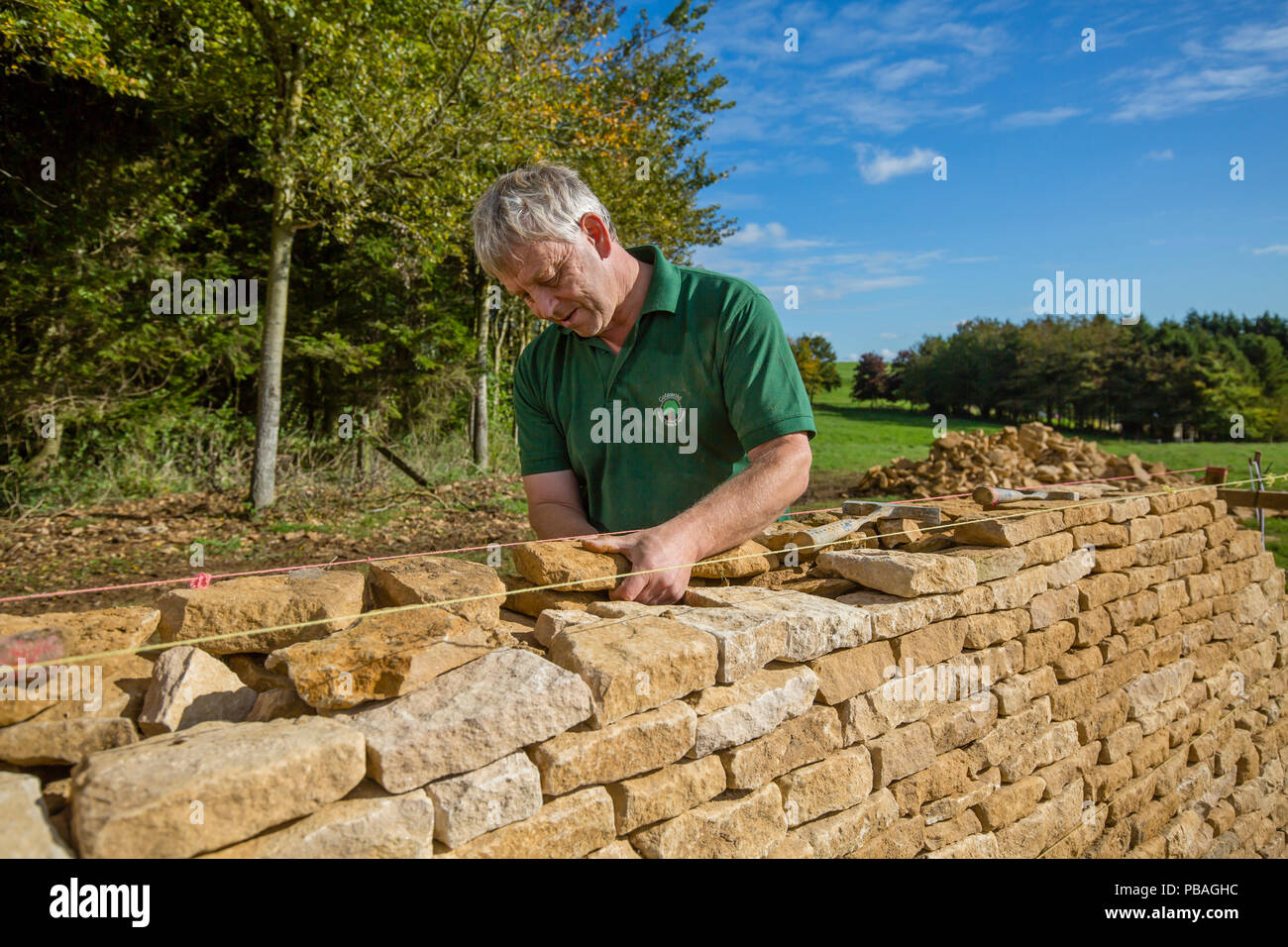 Traditional dry stone waller working with Cotswolds limestone building a wall, Guiting Power, Gloucestershire, UK. October 2015. - Stock Image