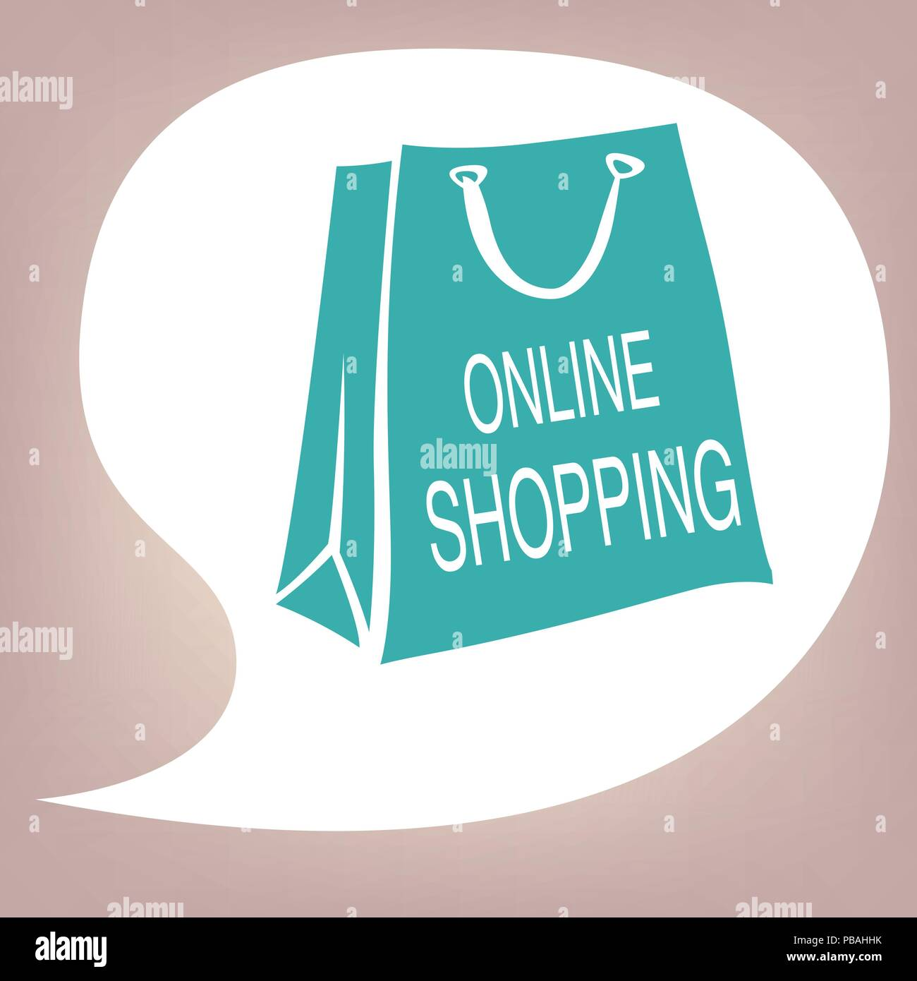 speech bubble with blue paper bag and online shopping lettering
