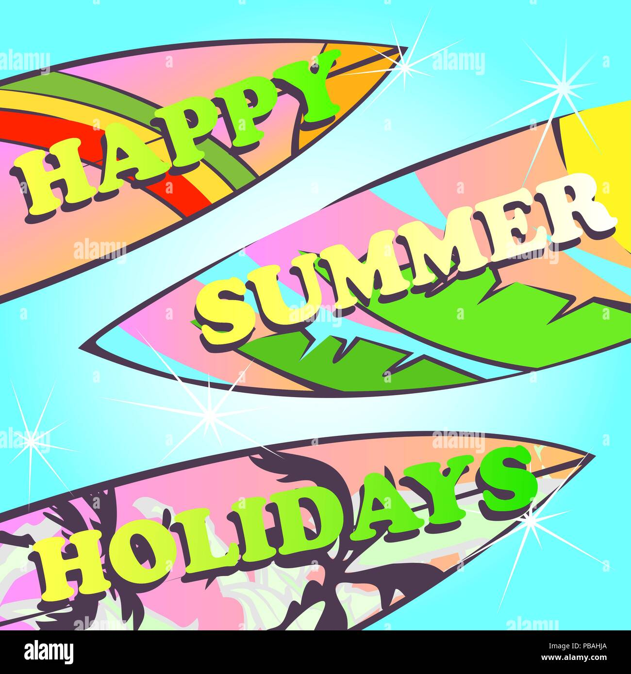 happy summer holidays design retro stylized surfing boards with rainbow pink and yellow sunset palms palm leaves on turquoise light gradient water