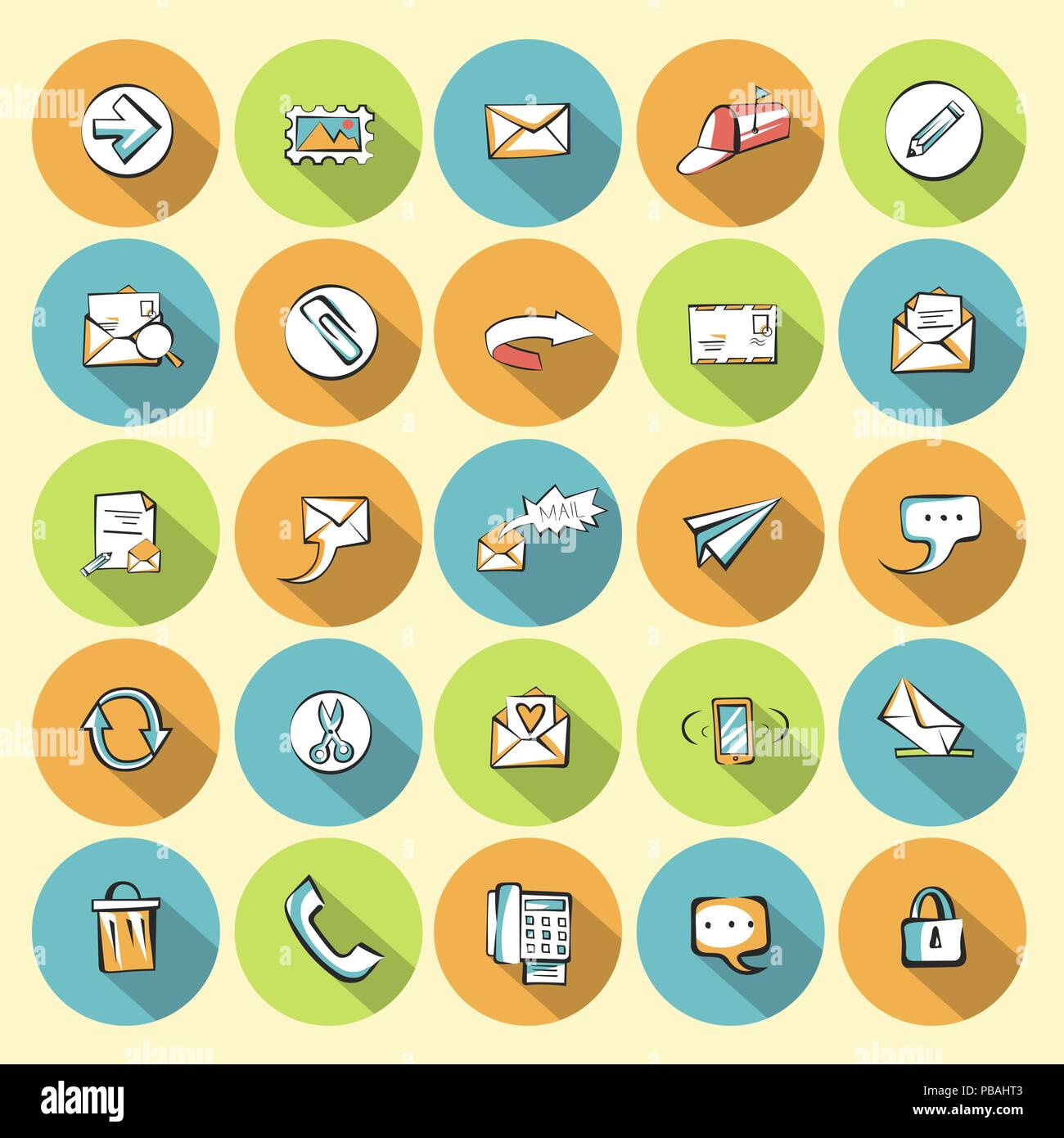 Flat communication icons set. Vector web signs collection. - Stock Image
