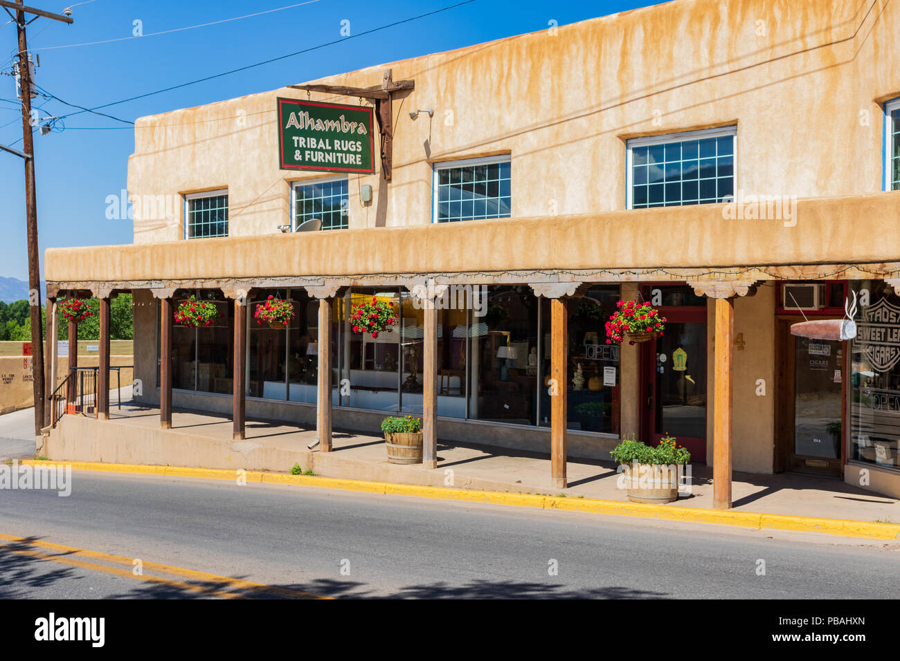 TAOS, NM, USA-8 JULY 18: Alhambra Tribal Rugs & Furniture is on the