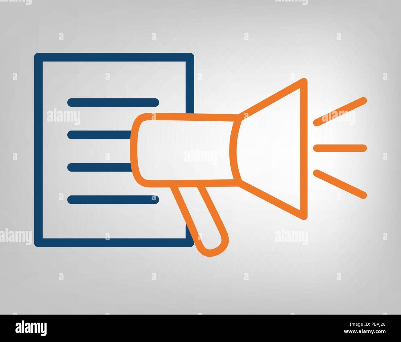 Publication icon megaphone with information list laconic blue and publication icon megaphone with information list laconic blue and orange lines on gray background isolated vector object publicscrutiny Gallery