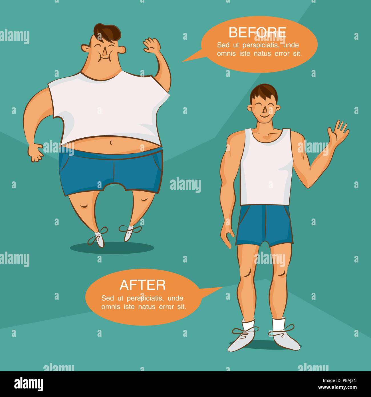 Before And After Losing Weight Illustration Overweight And Normal Cartoon Characters Image For Sport Diet Health Fat Lose And Other Articles Vec Stock Vector Image Art Alamy