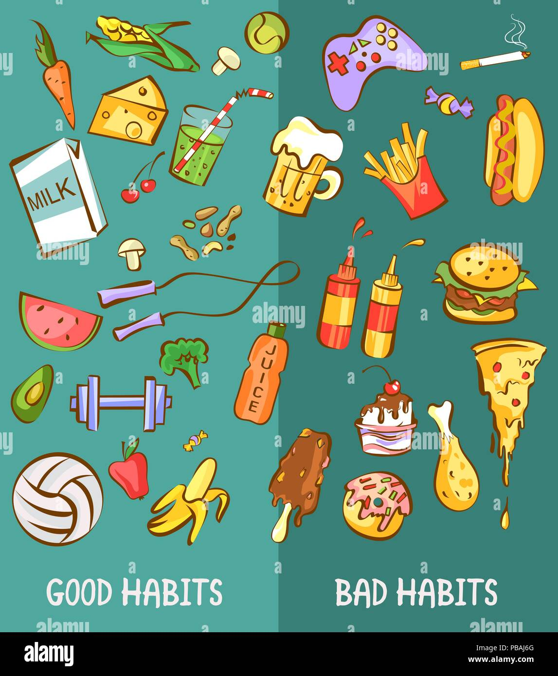 Unhealthy Lifestyle Stock Vector Images Alamy