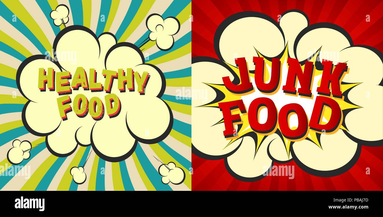Junk and healthy food retro style images  Comic cartoon explosion