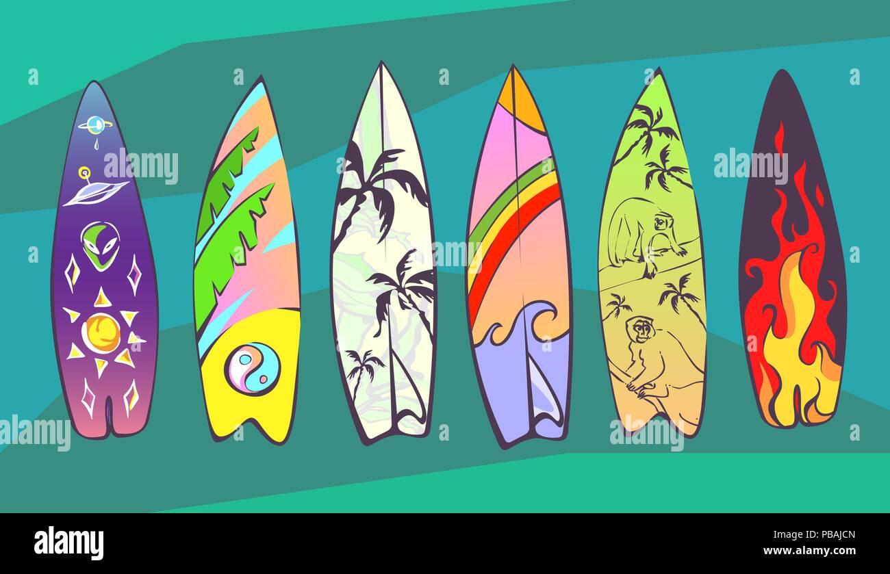 Set Of Comic Cartoon Surfboards With Original Design Vector