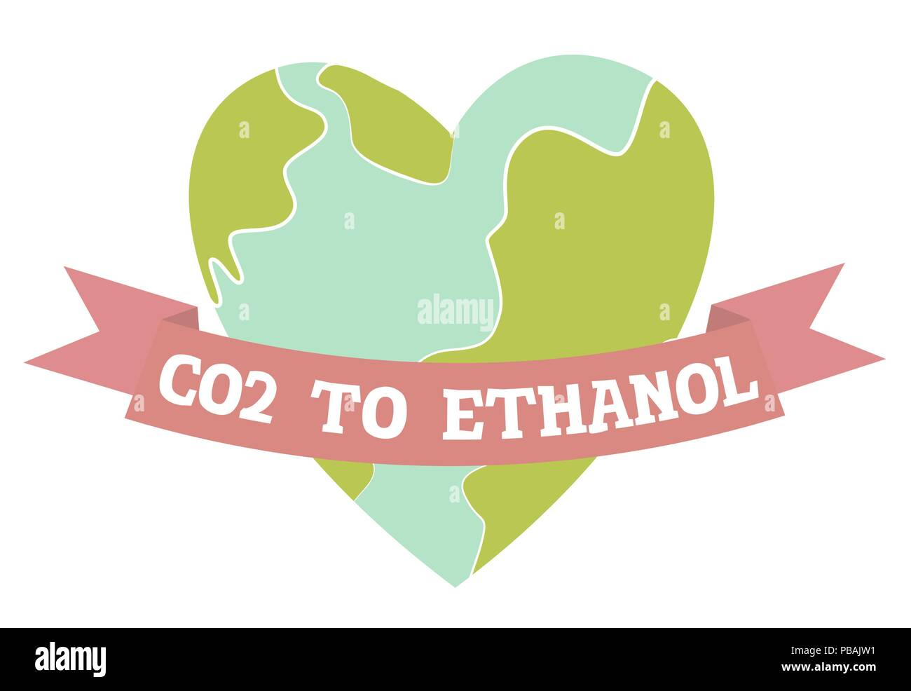 Co2 To Ethanol Planet Earth In A Heart Shape Flat Design Vector Illustration Stock Vector Image Art Alamy