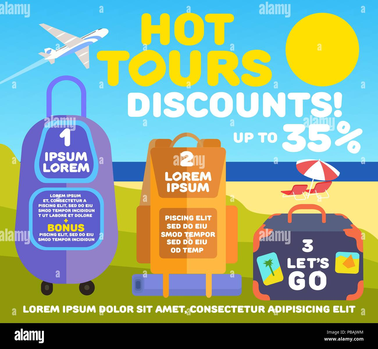 Flat design travel banner, hot tours discounts, vector infographics layout, bags with space for text on sunny beach - Stock Vector