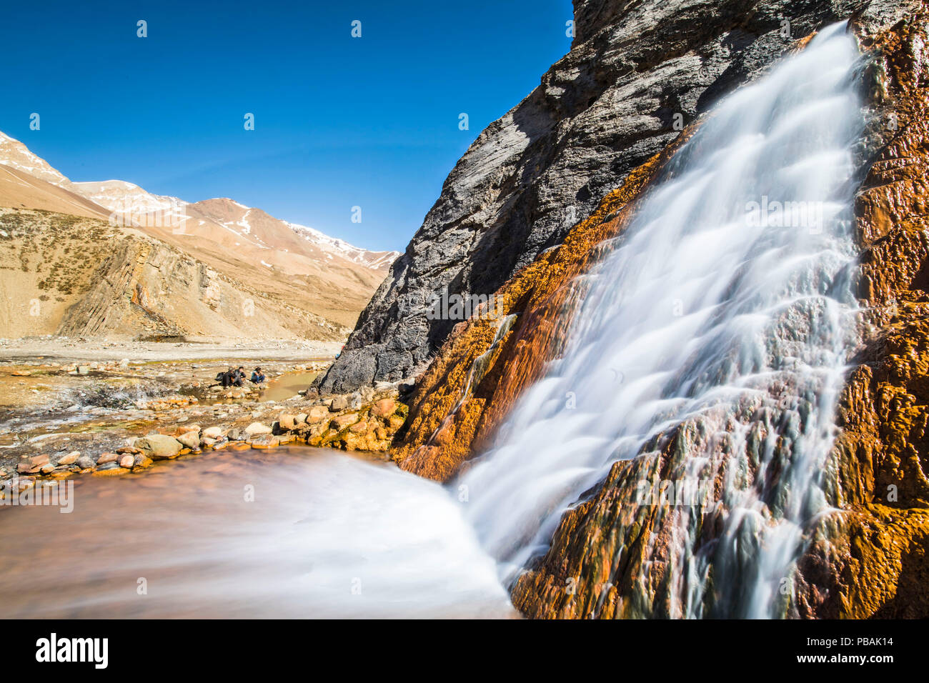 Thermal waters at Termas del Plomo inside Central Andes mountains. Just an amazing view of reflections and colors of a volcanic activity view - Stock Image