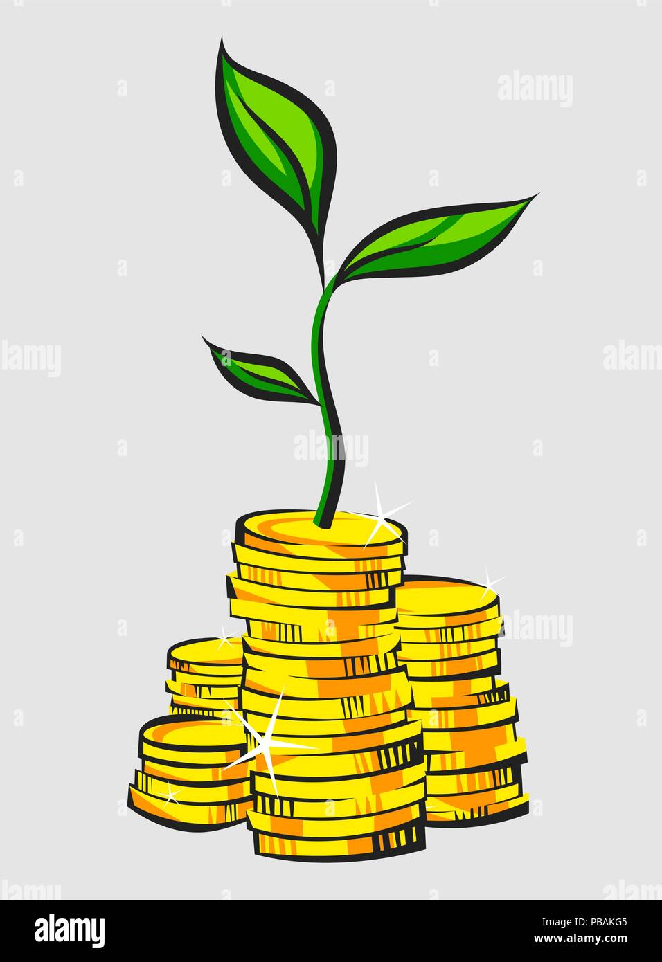 Golden coins stacks with money tree. Retro style vector illustration. - Stock Vector