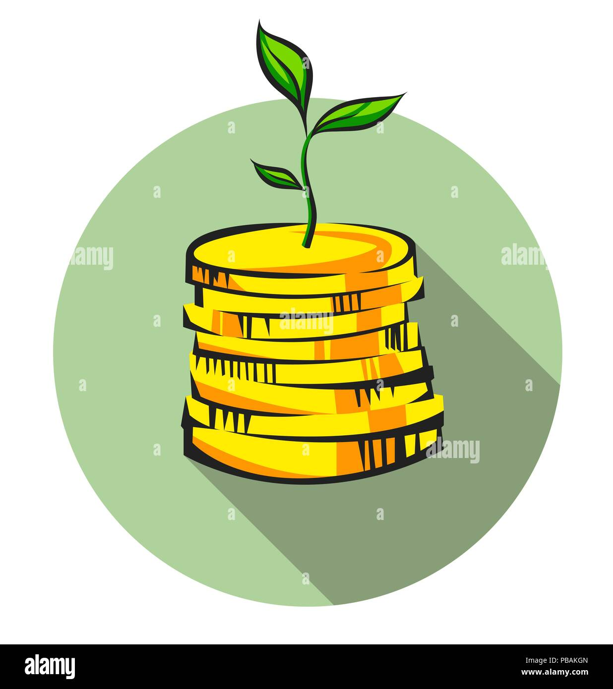 Money tree sprout grows from coins stack, pop art vector icon - Stock Image