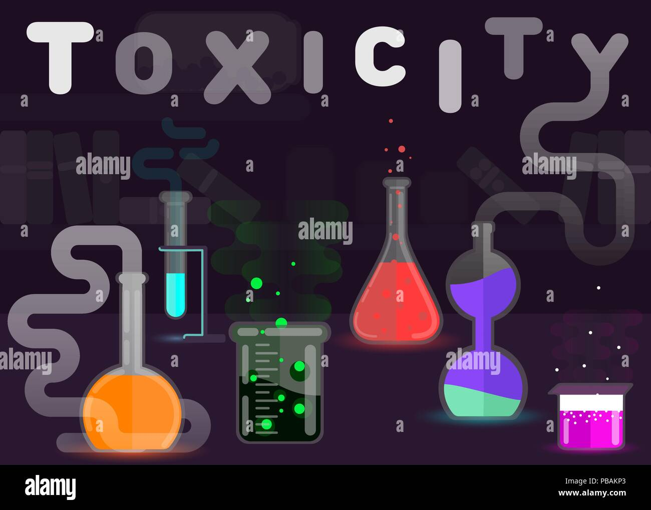 Toxicity sign, toxic chemicals flat style vector illustration - Stock Image