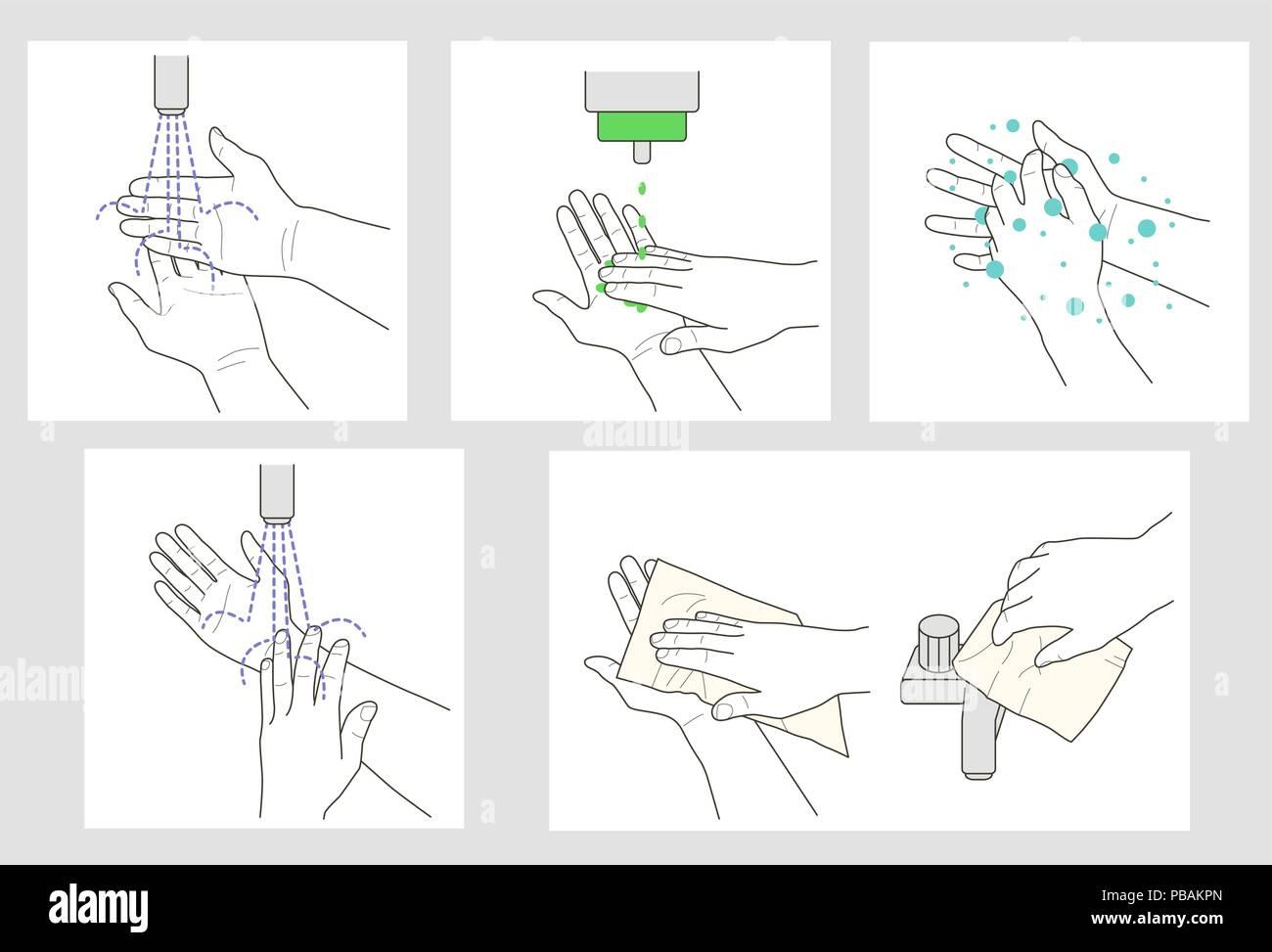 Wash Hands Vector Instruction Stock Vector Art Illustration