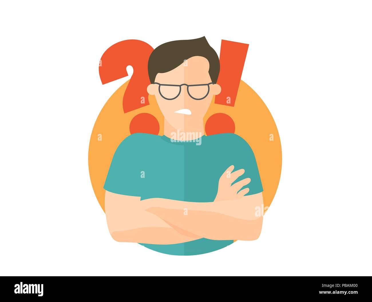 Handsome man in glasses angry doubts, offended. Flat design icon. Boy with a question and exclamation marks. Simply editable isolated on white vector  - Stock Image