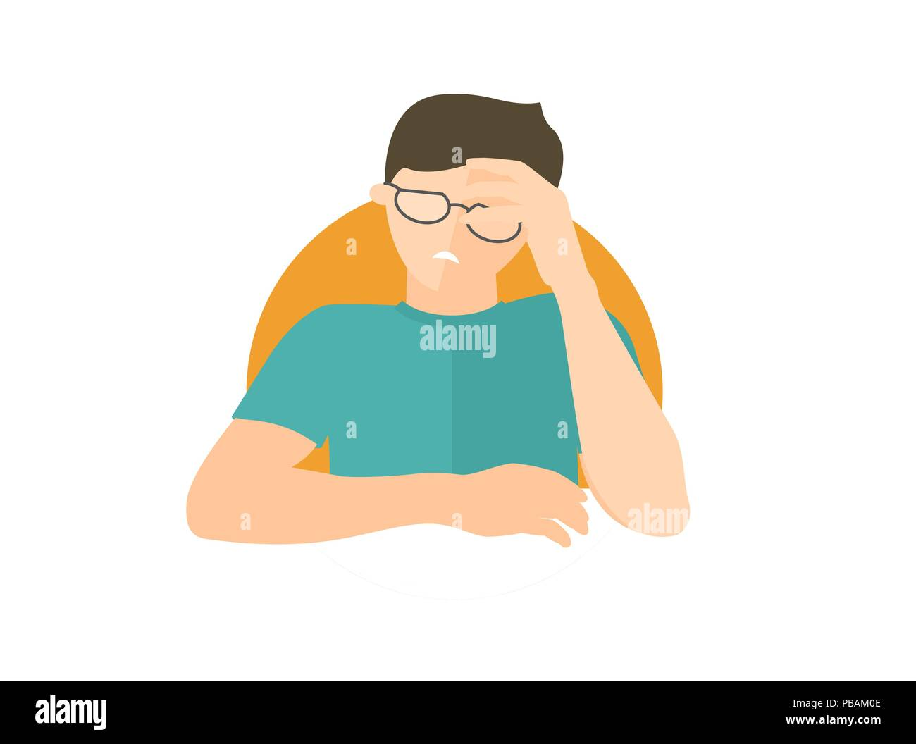 Handsome man in glasses depressed, sad, weak. Flat design icon. Boy with feeble depression emotion. Simply editable isolated on white vector sign - Stock Vector