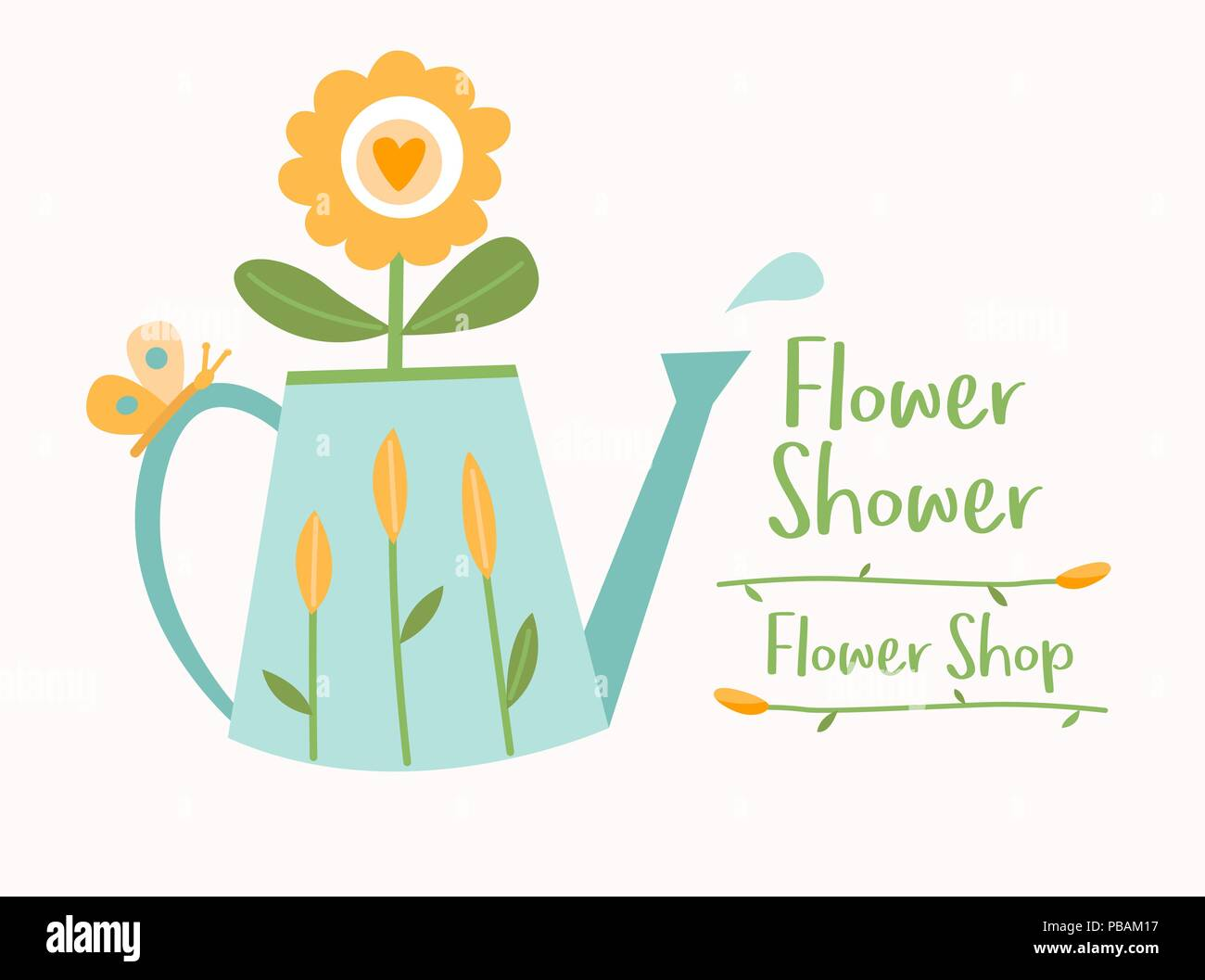 watering can with flowers butterfly and water drop flower shop