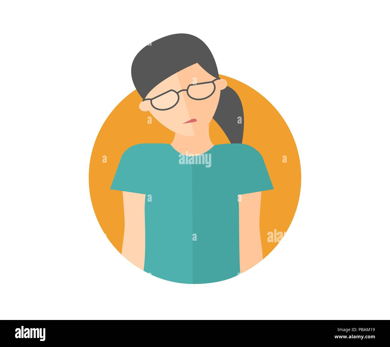 Weak, sad, depressed pretty girl in glasses. Flat design icon. Woman with feeble depression emotion. Simply editable isolated on white vector sign - Stock Vector