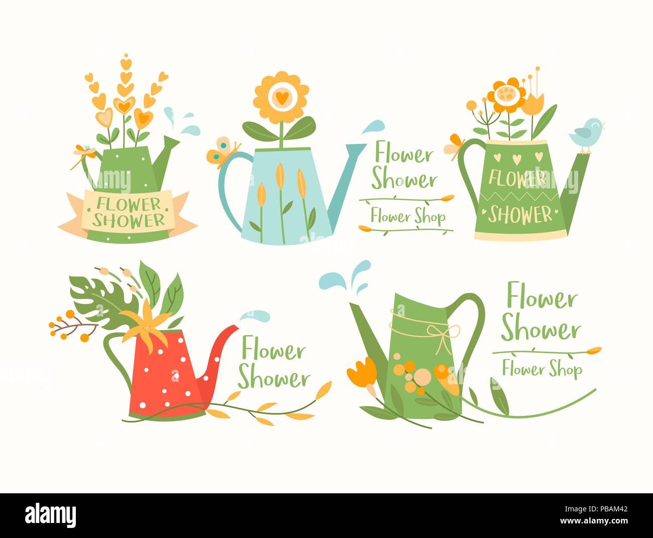 Watering cans, pots set, flower shop logotypes vector templates, logo design - Stock Vector