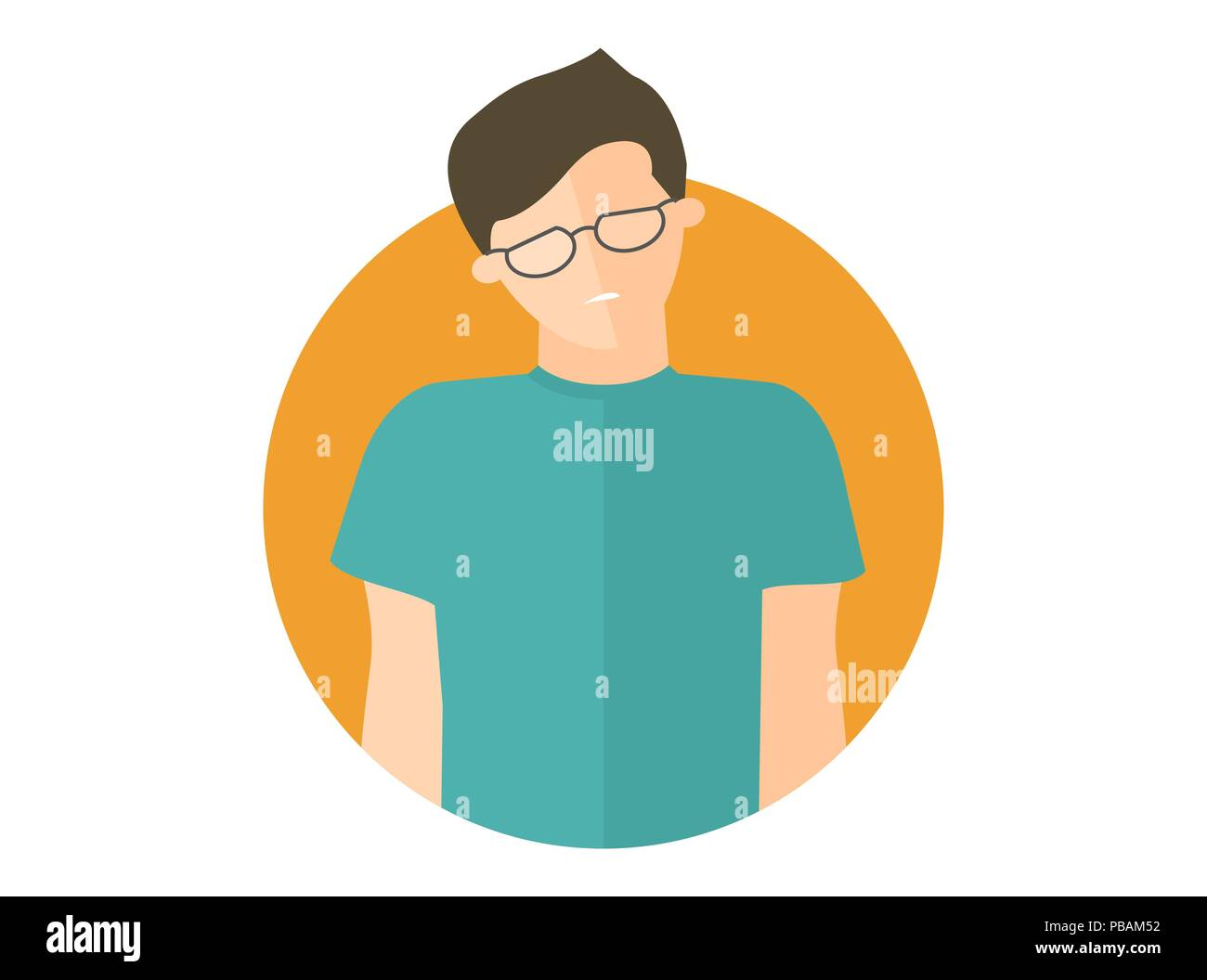 Weak, sad, depressed boy in glasses. Flat design icon. Handsome man with feeble depression emotion. Simply editable isolated on white vector sign - Stock Vector